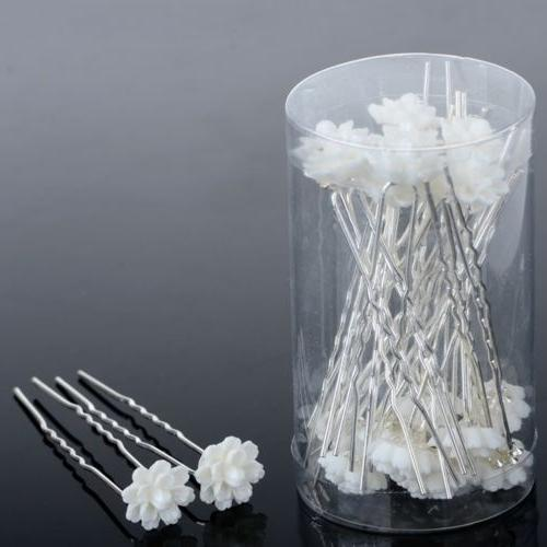 20/40Pc Wedding Bridal Pearl Flower Crystal Clips