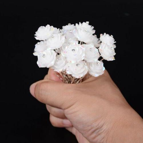 20/40Pc Flower Crystal Clips Jewelry