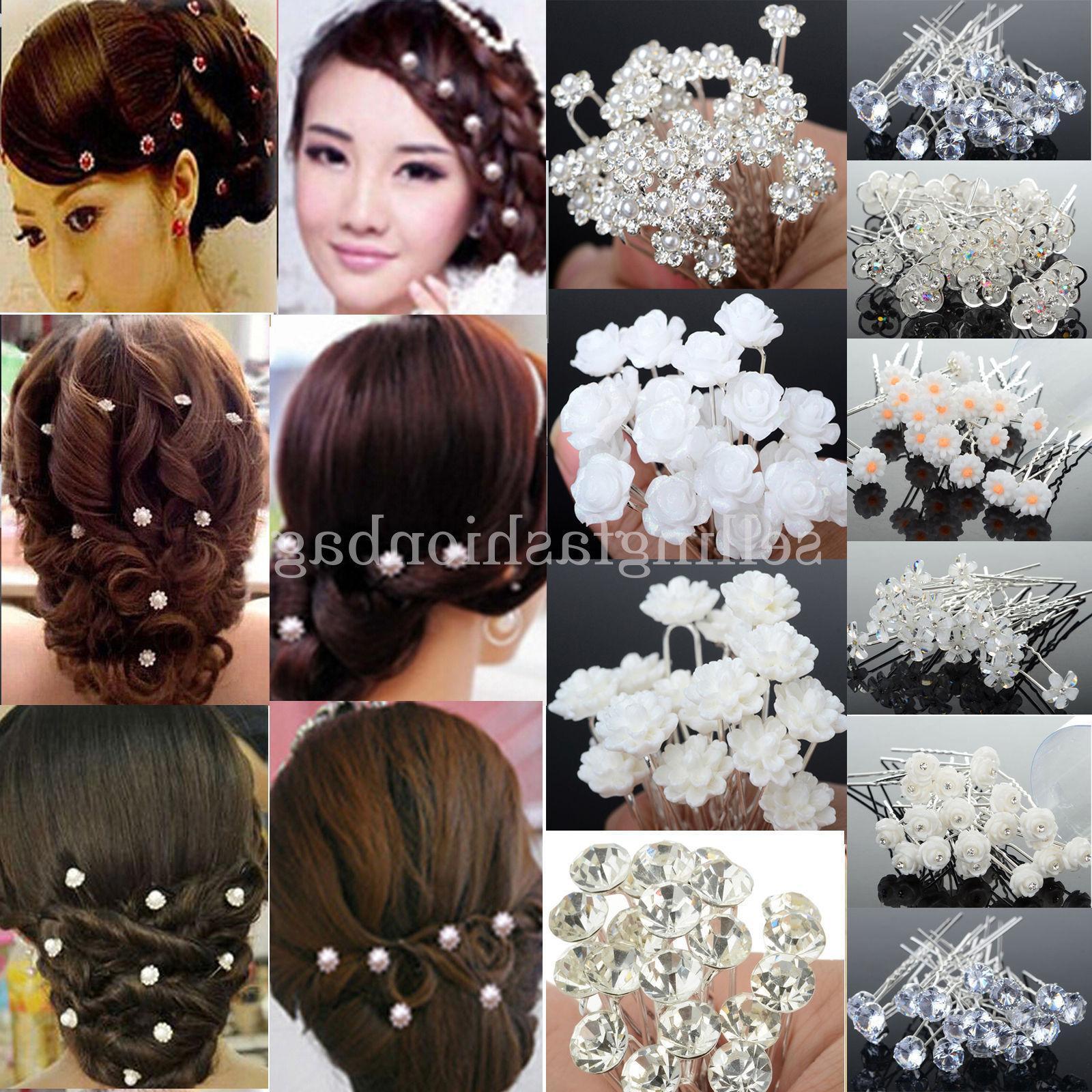 20/40PCS Bridal Pearl Crystal Hair Pins