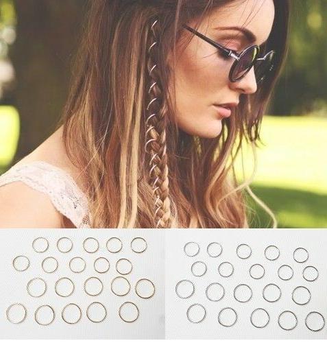 20 hair hoops braid rings dreads clip