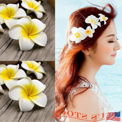 20pc women plumeria flower hair clip accessories