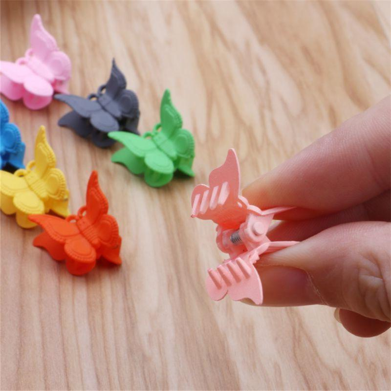 20Pcs Girl Colors Mini Small Plastic Butterfly Shap Hair Clamp