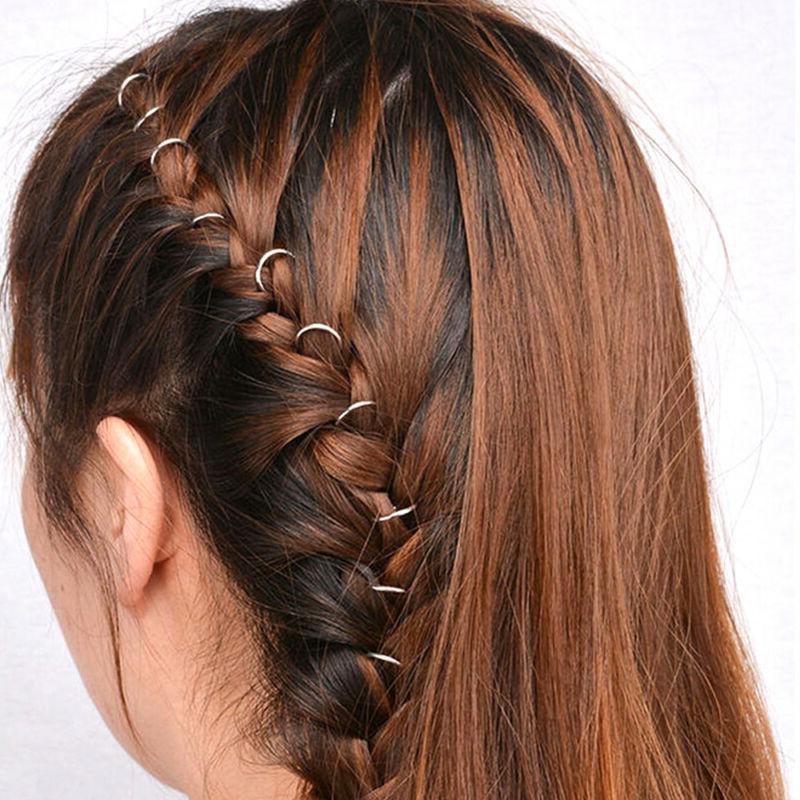 20pcs/set Boho Braid Gold Silver Ring Hair DIY