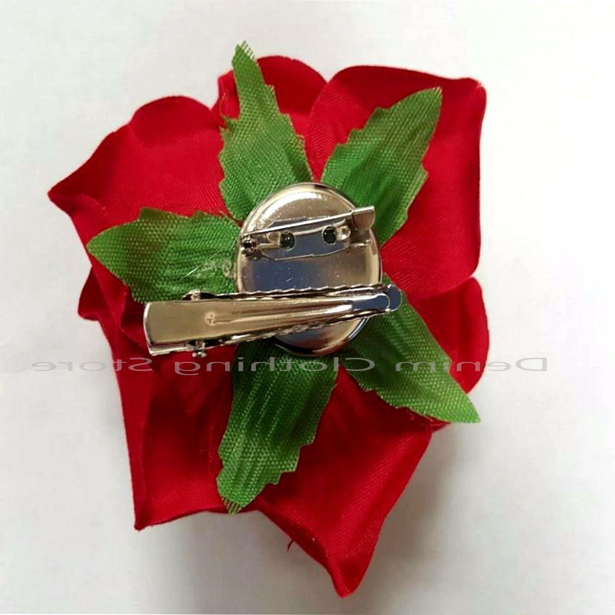 2pc Silk Red Rose Hair Clips Hairpin Lot