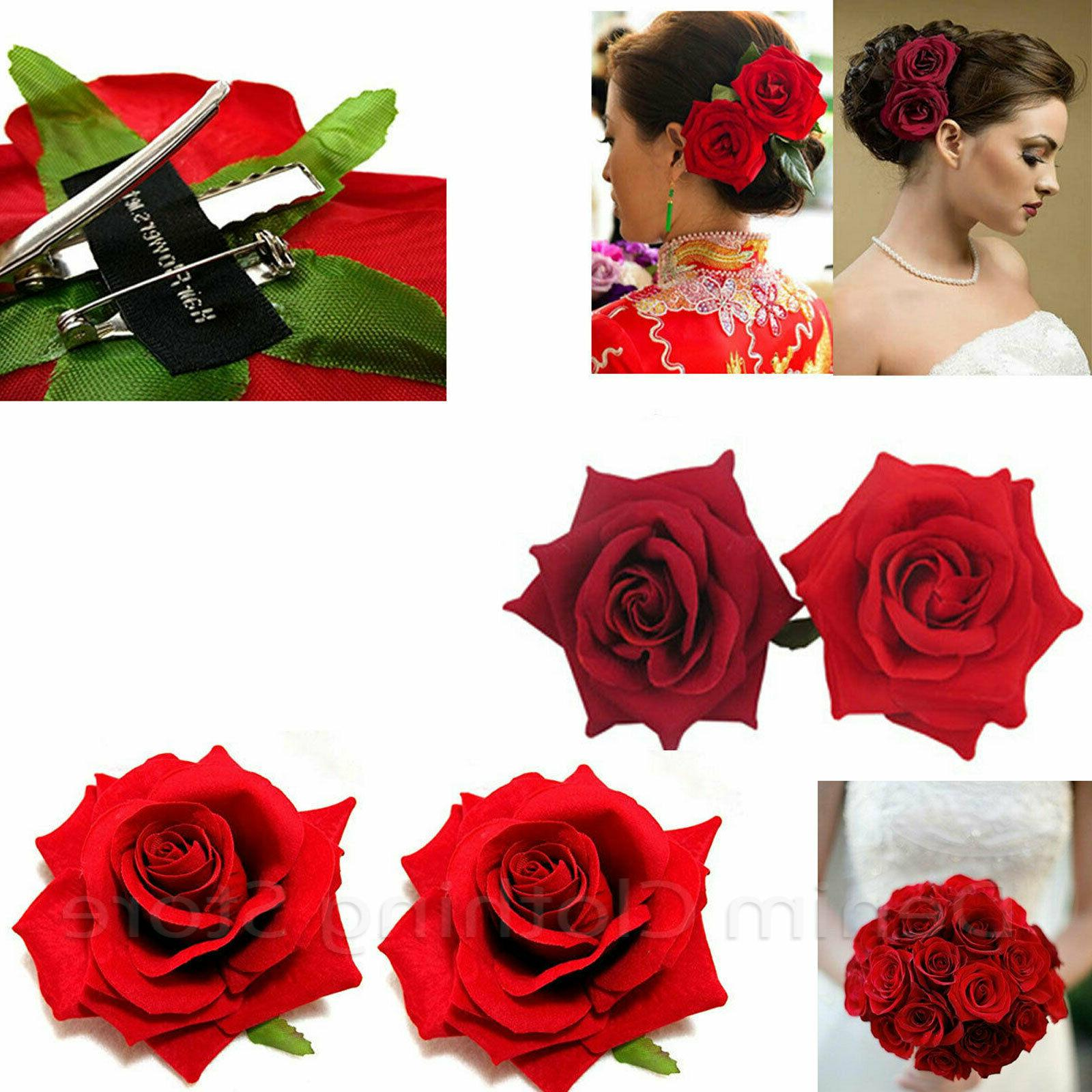2pc silk red rose hair flower clips