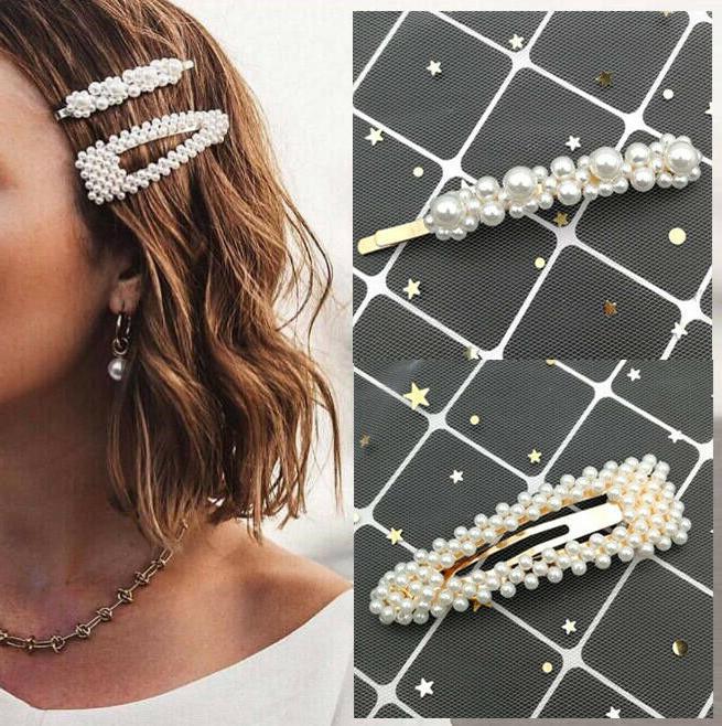 2pcs fashion girl pearl hair clip hairband