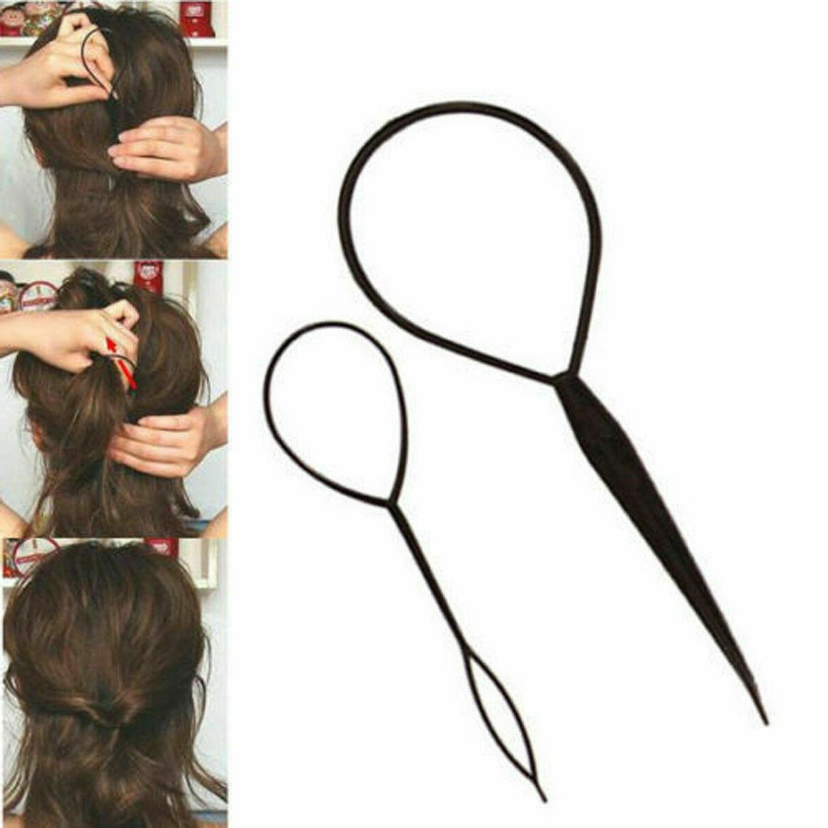 2PCS Simple Hair Braid Ponytail Maker Clip Tool
