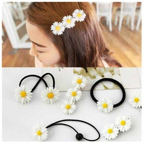 2Pcs Ornament Band Ties Elastic Rope Mini Daisy Hair Clip Bo
