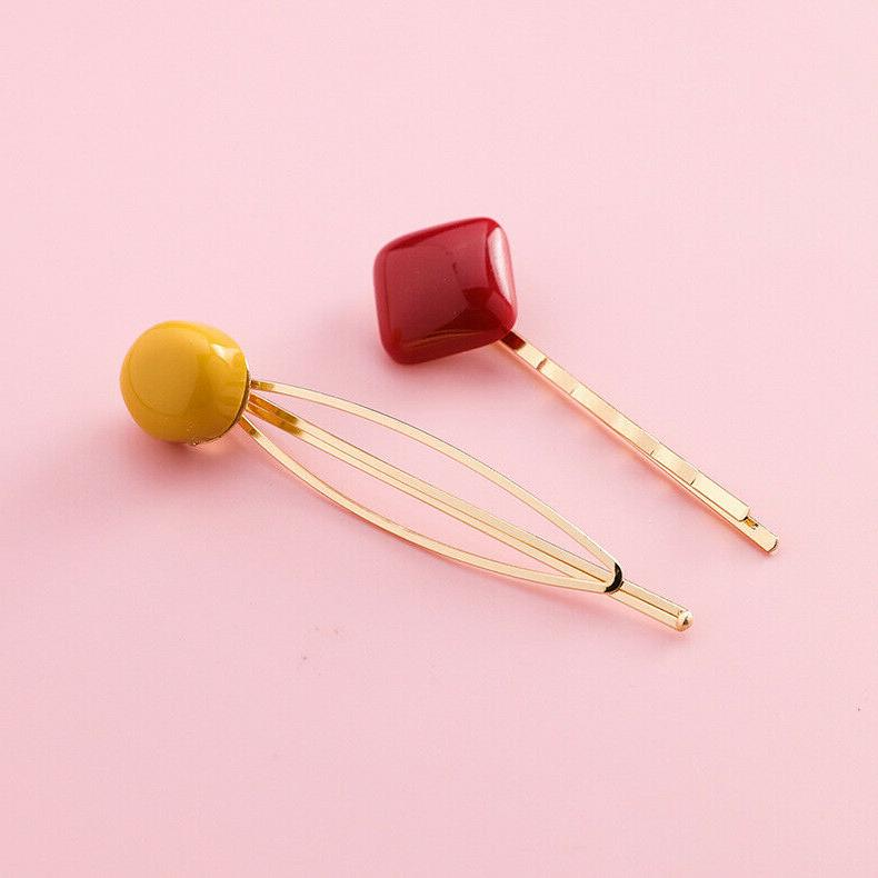 2pcs/set Women's Acrylic Candy Color Clip Girl Cute
