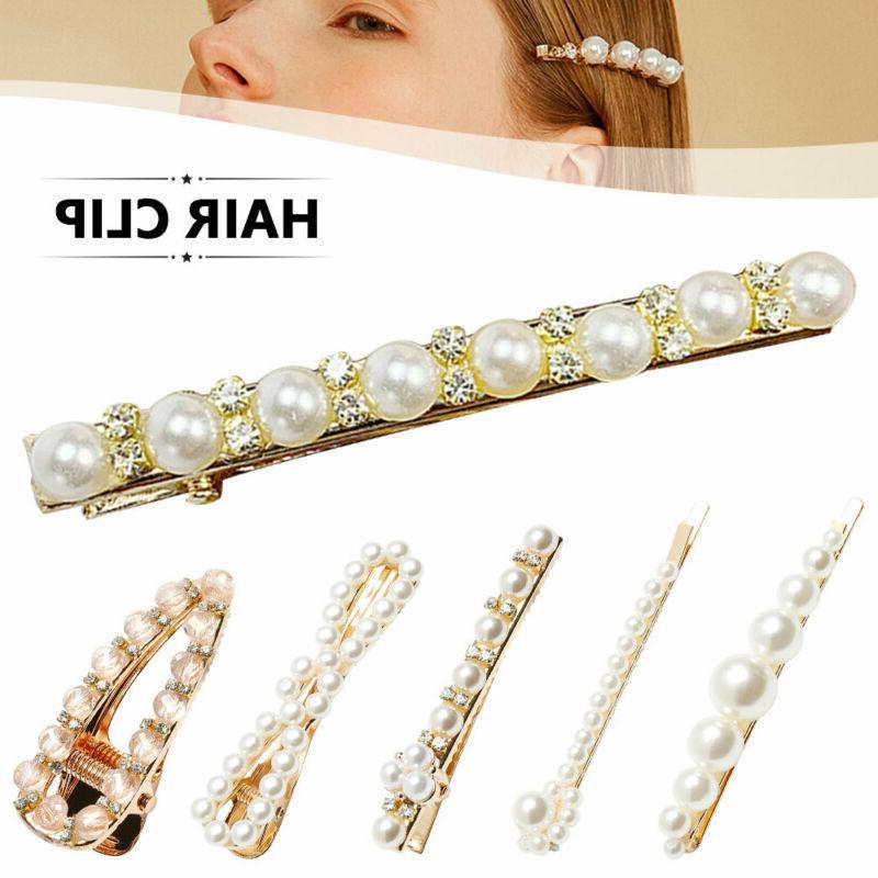 2pcs women elegant pearl leaf hair clip
