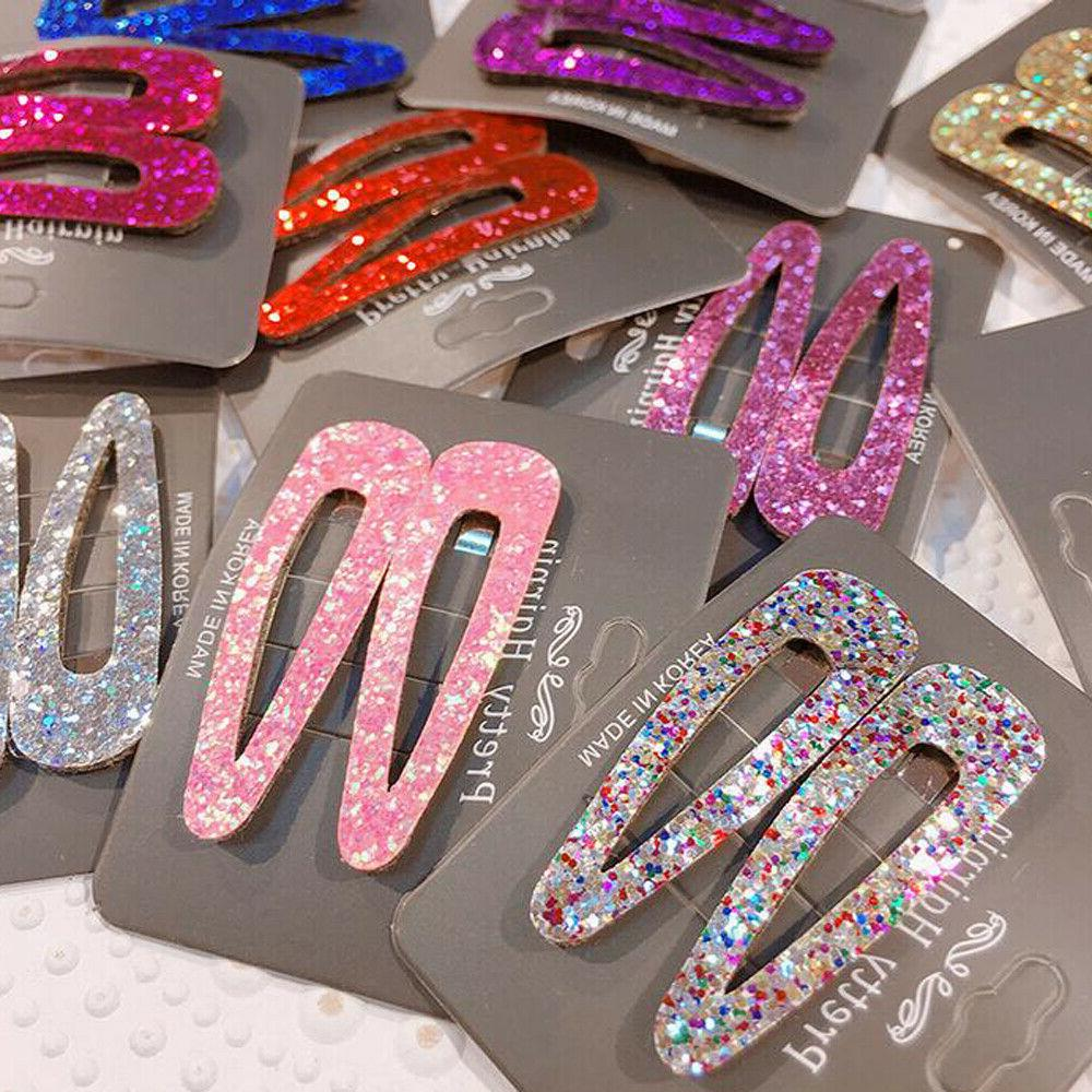 2Pcs Multi-color Hair Clip Snap Hairpin Accessories
