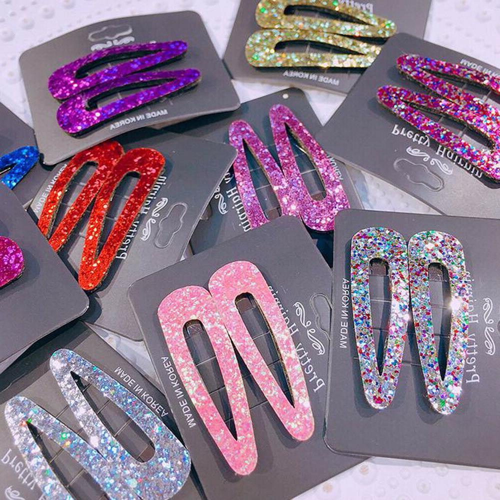 2pcs women multi color sequins hair clip