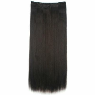 3/4 Full Clip In Hair Extensions Curly Straight Piece Xmas