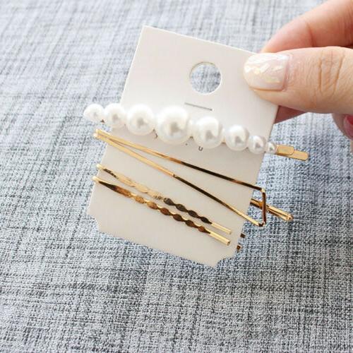 3Pcs/set Pearl Metal Color Hair Pin Barrette US