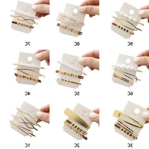 3Pcs/set Pearl Metal Color Pin Barrette Hairband US