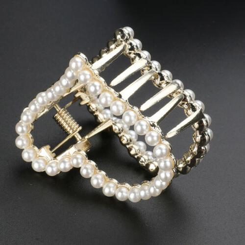 Silver Metal Pearl Clip Snap Hair Pins