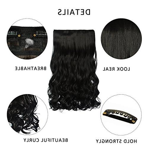 REECHO 3/4 Full Curly Clips Hair Hairpieces for Women Clips 4.6 Oz Natural Black