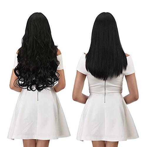 REECHO Full Head Clips Hair Hairpieces Women 4.6 Oz Natural Black