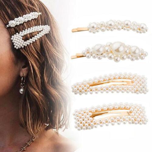 4 pearl hair clip snap barrette stick