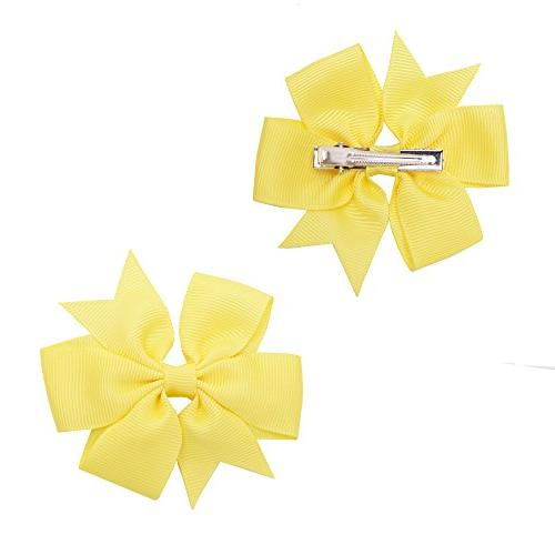 Prohouse 40 PCS Baby Ribbon Bow Barrettes For Girl Kids Babies Toddlers