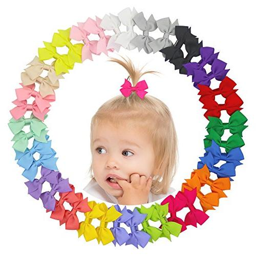 QtGirl Hair Bow Hair Alligator Clips for Baby Girls Toddlers Kids in Pairs