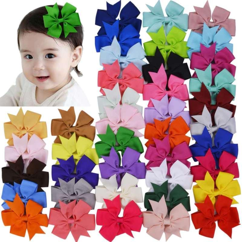 40pcs 20 Baby Girls Hair Bows For Kids Bands Alligator Hair Clips