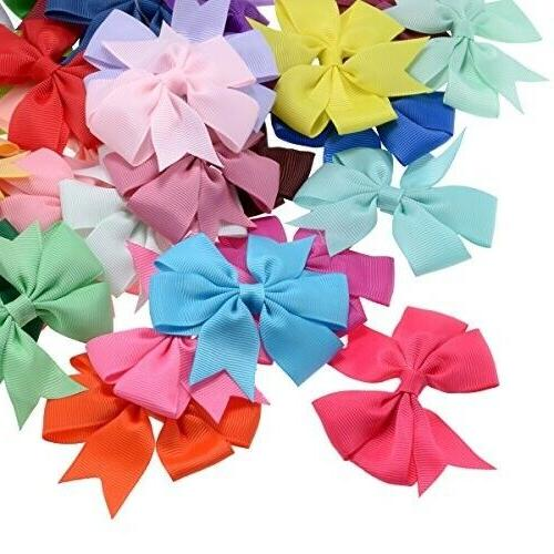 40pcs 20 Pairs Ribbon Baby Girls Hair Bows Alligator Hair Clips