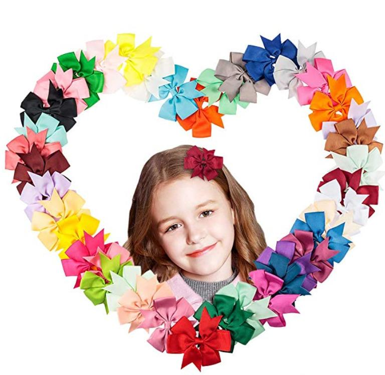 40pcs Pairs Grosgrain Ribbon Hair Clips