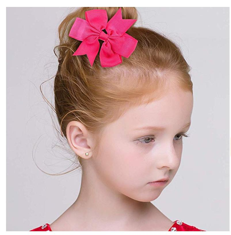40pcs Pairs Ribbon Baby Girls Solid Hair Clips
