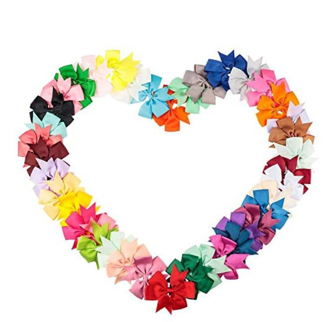 Ribbon Baby Girls Solid Hair Bows Clips