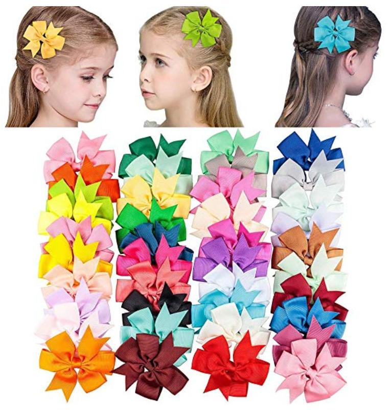 40pcs 20 pairs grosgrain ribbon baby girls
