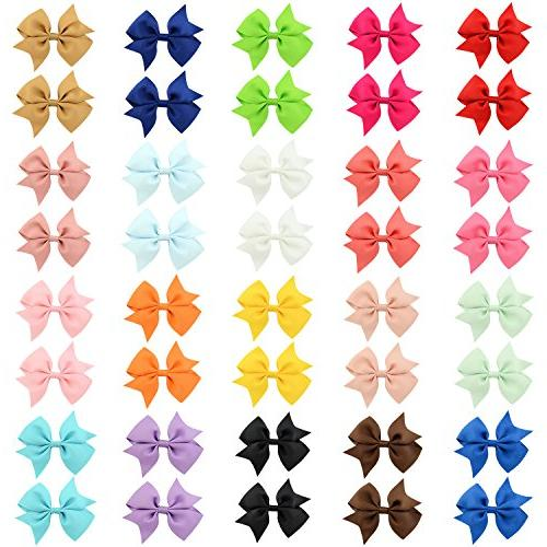 """40pcs Girls Clips 2"""" Grosgrain Boutique Color Bows Clips for Baby Girls Teens Infants Kids Toddlers Children 20 pairs"""