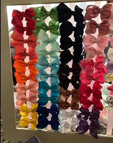 "40Piecse Boutique Grosgrain Ribbon Pinwheel 3"" Bows Alligator Clips Toddlers Pairs"