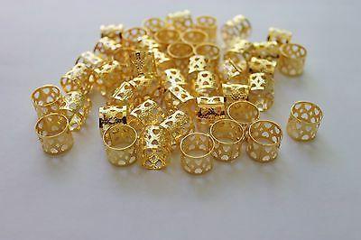 48pc hair dreadlocks bead cuff clip gold