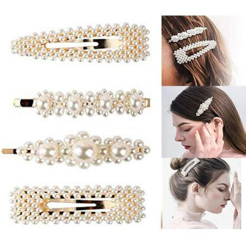 4 Pearl Hair Clip Snap Barrette Stick Hair Pin Prom Wed Brid