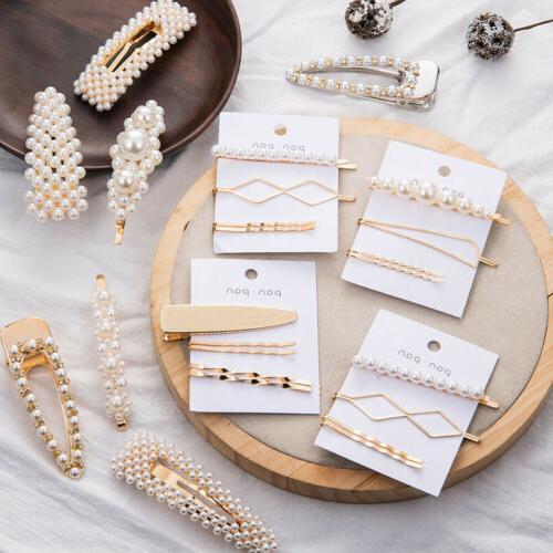 4pcs women pearl acrylic hair clips snap