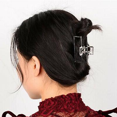 4x Women Large Non Slip Grip Hair Claw Jaw Clips Metal Hair Clamps Grips Pin