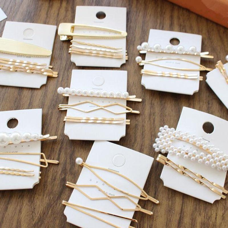 1-5PC Fashion Pearl Hair Clip Hairband Pin Hairpin Headdress