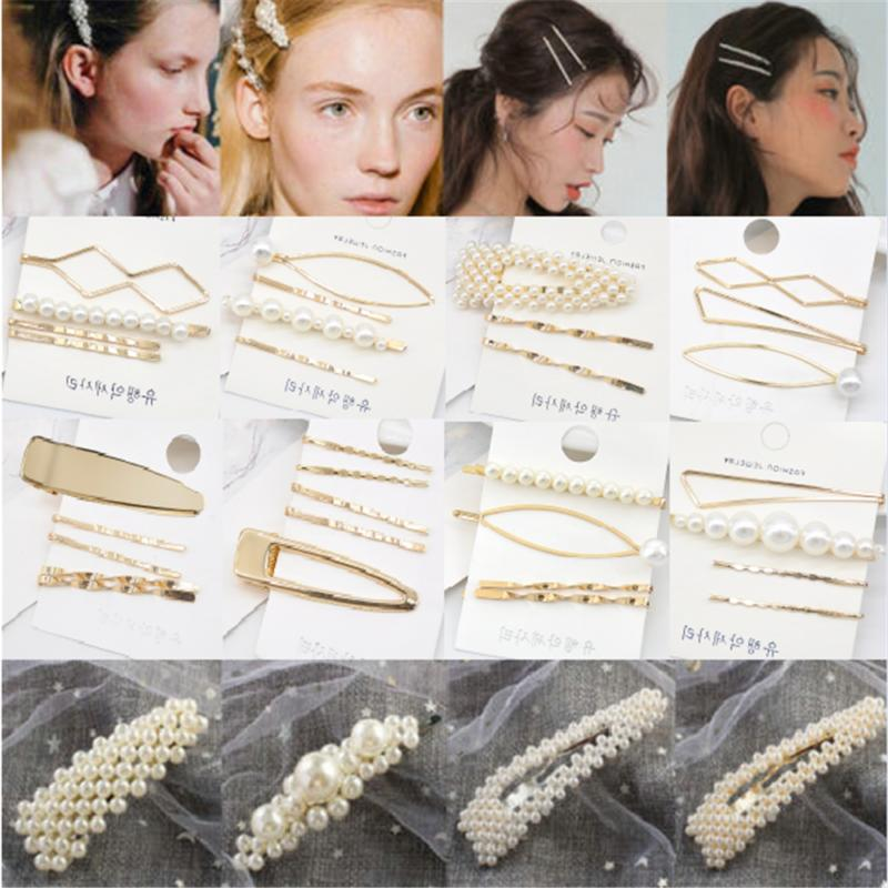 5pcs fashion pearl hair clip hairband comb