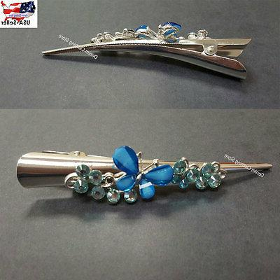 """6 Butterfly Clip Clamp Claw Bling Crystal Rhinestone 5"""""""