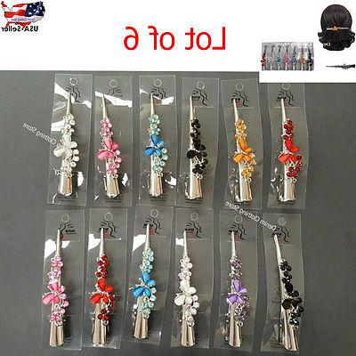 """6 Butterfly Clip Clamp Alligator Bling Lot 5"""""""