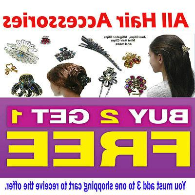 """6 Butterfly Hair Clip Clamp Bling Crystal 5"""""""
