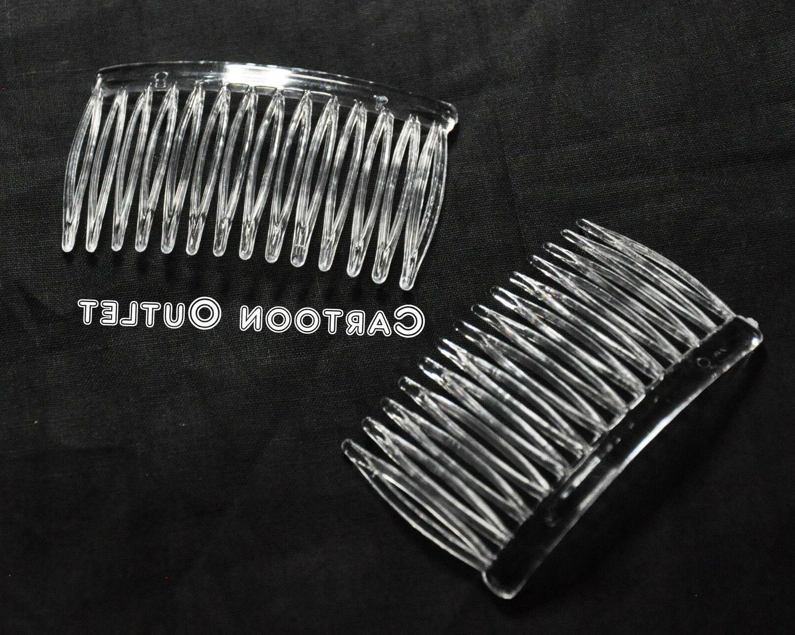 6 clear plastic plain hair clips combs