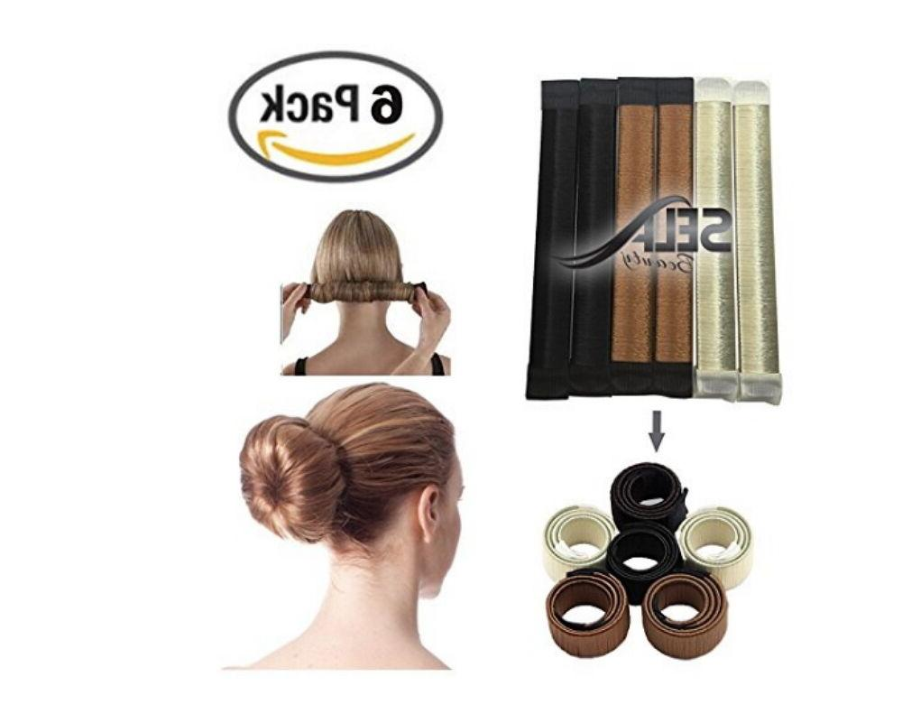 6 Packs Hair Styling Donut Former Foam French Twist Magic DI