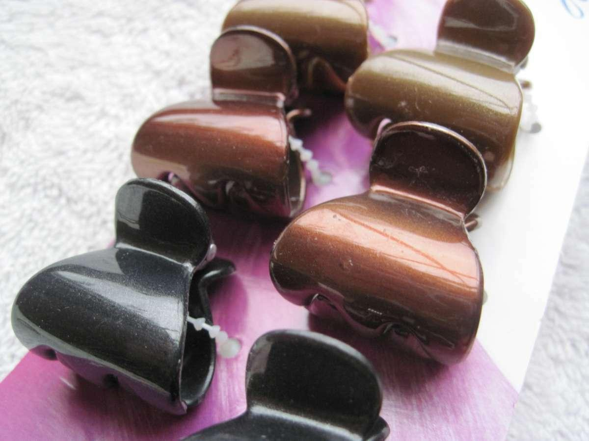 Hair Clips Shiny Brown Black Triangle Jaw