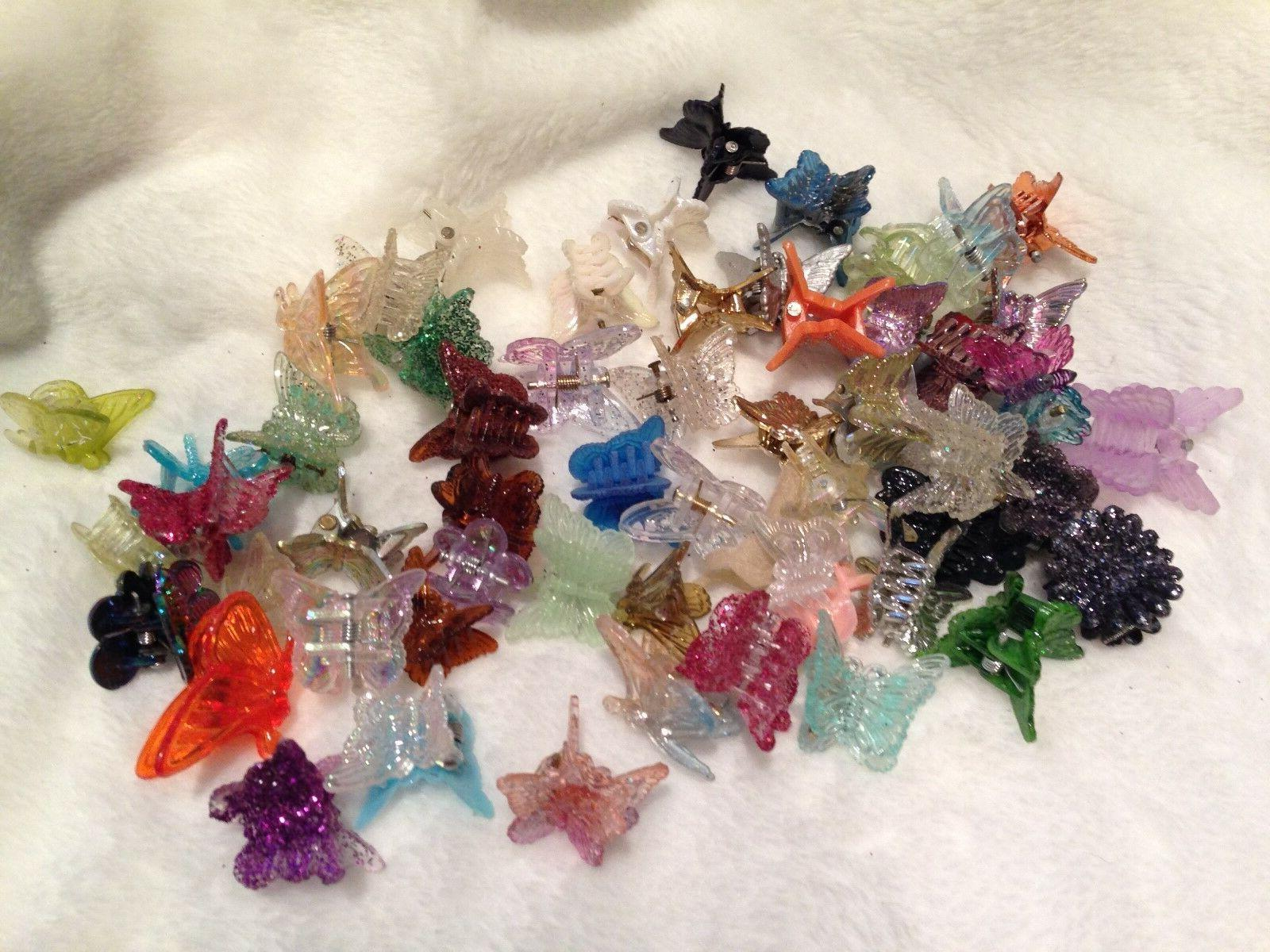 60 Mixed Butterfly Clips Accessories