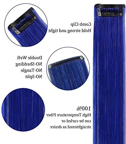 MQ 6PCS Purple Blue Clip In/On Colored Hair Extensions
