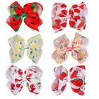 "7"" Large Fruit Printed Hair Bows For Girls Handmade Ribbon B"