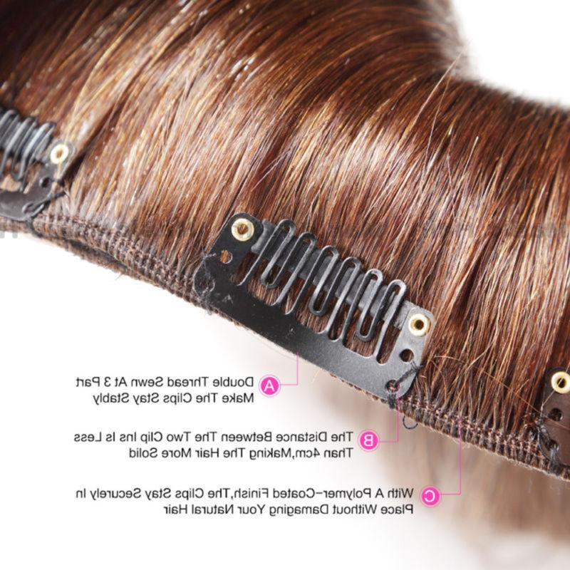 Natural 7PCS Clip In Remy Human Hair Extensions Inches