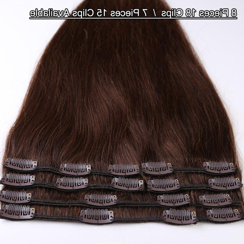 Natural 7PCS Remy Real Hair Extensions Full 8-24 Inches